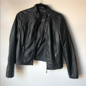 EUC black leather jacket kids L